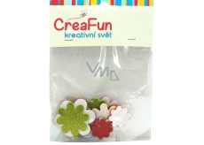 CreaFun Self-adhesive decoration Flower Eva with glitter mix of colors 31 x 33, 38 x 38, 45 x 45 mm 15 pieces