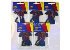 FC Barcelona aromatická vonná karta do auta ve tvaru oblečení hráčů klubu expirace 02/2017