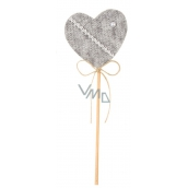 Felt heart of gray groove 6 cm + skewers