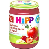Hipp Fruit Organic Apples with strawberries and raspberries fruit side dish, reduced lactose content and no added sugar for children 190 g