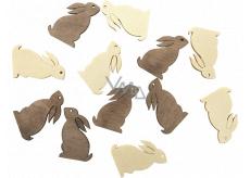 Bunny wooden beige, brown 4 cm, 12 pieces