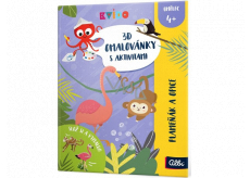 Albi Kvído 3D coloring page Flamingo and monkey recommended age 4+