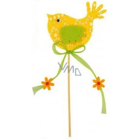 Felt bird yellow-white decor 7cm