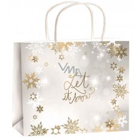 Angel Gift paper bag 23 x 18 x 10 cm Christmas gold-white ribbon of snowflakes-Let it Snow M horizon