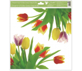 Room Decor Window foil without glue corner Tulips yellow with glitter 30 x 33.5 cm