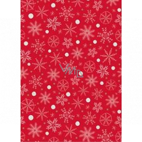 Ditipo Gift wrapping paper 70 x 200 cm Christmas red white-gold snowflakes