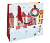 Nekupto Gift paper bag luxury 18 x 16 cm Christmas houses WLIS 1970