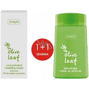 Ziaja Olivové listy SPF20 vyživující koncentrovaný krém 50 ml + Olivové listy dvoufázový odličovač make-upu 120 ml, duopack