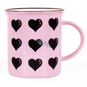 Albi Ceramic tin Hearts pink 320 ml