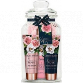 Baylis & Harding Fresh rose cleansing gel 300 ml + bath cream 100 ml + body lotion 100 ml + washcloth + jar, cosmetic set