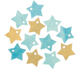 Wooden star turquoise-gold 4 cm 12 pieces