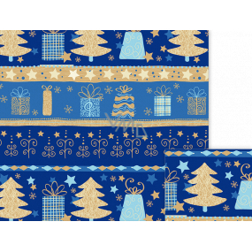 Ditipo Gift wrapping paper 70 x 500 cm Christmas blue Christmas motifs
