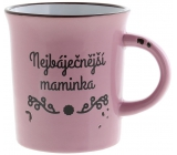 Albi Plecháček ceramic mug with inscription The Most Beautiful Mother, Pink 320 ml