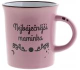 Albi Plecháček ceramic mug with inscription The Most Beautiful Mother, Pink 320 ml