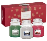 Yankee Candle Candlelit Cabin - Cottage lit by a candle + Evergreen Mist - Forest Mist + Pomegranate Gin Fizz - Pomegranate Gin Fizz scented candle Classic small glass 3 x 104 g, Christmas gift set