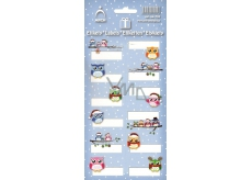 Arch Christmas Labels Stickers Owls Blue Arch 12 Labels