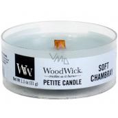 WoodWick Soft Chambray - Čisté prádlo vonná svíčka s dřevěným knotem sklo petite 31 g