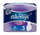 Always Platinum Ultra Night sanitary pads with wings 6 pieces