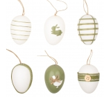 Plastic eggs for hanging 6 cm, 6 pieces in a bag