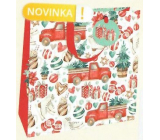 Nekupto Gift paper bag luxury 33 x 33 cm Car with Christmas tree WLIL