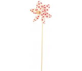Větrník s velkými puntíky bílý červené puntíky 9 cm + špejle 1 kus