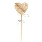Decorated beige 6 cm heart + skewle 3738 4687