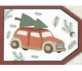 Nekupto Christmas gift cards car with a branch 5.5 x 7.5 cm 6 pieces