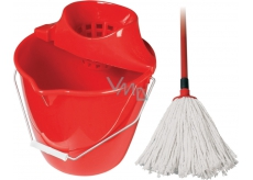 Spokar Cleaning kit bucket, wringer, mop red 1 set