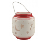 Lantern ceramic starry sky white-red 11 cm