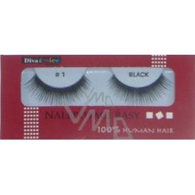 Diva & Nice False eyelashes 100% Human Hair No. 1 black 1 pair