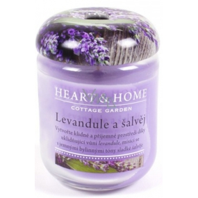 Heart & Home Lavender and Sage Soy scented candle medium burns up to 30 hours 110 g