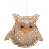 Owl for hanging beige polka dot 8 cm
