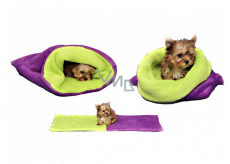 Marysa lair - 3in1 bag is designed for puppy, kitten, rodent or ferret mini 38 x 80 cm purple / light green