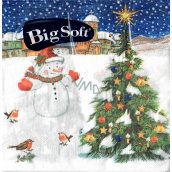 Big Soft Paper napkins 2 ply 33 x 33 cm 20 pieces Christmas Snowman with tree