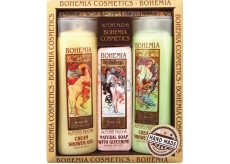 Bohemia Gifts & Cosmetics Alfons Mucha Honey and Grain Cream Shower Gel 200 ml + toilet soap with glycerine with extracts of olive and citrus leaves 125 g + olive and citrus cream shower gel 200 ml, cosmetic set