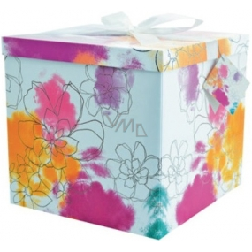 Gift box folding with ribbon 03 Colorful flowers XXL 30 x 30 x 17 cm