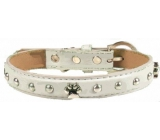 Tatrapet Collar Leather gray decorated with paws 2.5 x 55 cm