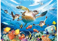 Prime3D Poster - Ancient Water Turtle - The sea turtle journey 39.5 x 29.5 cm