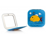 Diva & Nice Double Classic and Magnifying Square Mirror Blue with Yellow Whale 6.8 x 6.8 cm