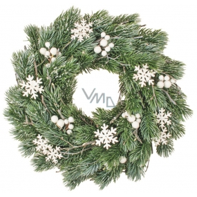 Wreath of pine needles with white decorations 35 cm