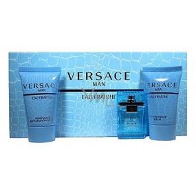 Versace Eau Fraiche Man eau de toilette 5 ml + shower gel 25 ml + aftershave 25 ml, gift set