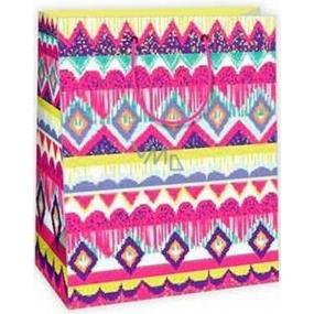 Ditipo Dárková papírová taška velká různé geometrické tvary 26,4 x 13,7 x 32,4 cm AB