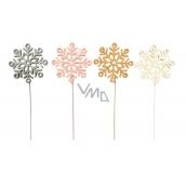 Wooden snowflake 8 cm + wire 1 piece