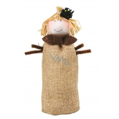 Jute scarecrow with crow 18 cm