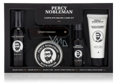 Percy Nobleman Beard Shampoo 100 ml + nourishing oil beard conditioner with Percy Nobleman fragrance 50 ml + beard balm 65 ml + comb for beard and mustache + moisturizing cream for face and beard 75 ml, beard care set for men