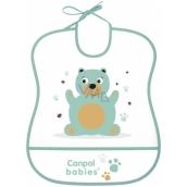 Canpol babies Cute Animals Plastic soft bib with big pocket 1 piece