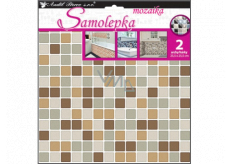 Room Decor Wall sticker plastic mosaic, imitation tiles, brown 2 sheets 25.5 x 25.5 cm