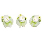 Ovečka bílá se zelenou mašličkou 13 x 11 cm