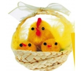Basket knit natural with plush chicken 1 pc., 5 cm