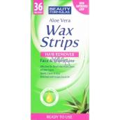 Beauty Formulas Aloe Vera Wax Strips depilační pásky na obličej a oblast bikin 36 kusů